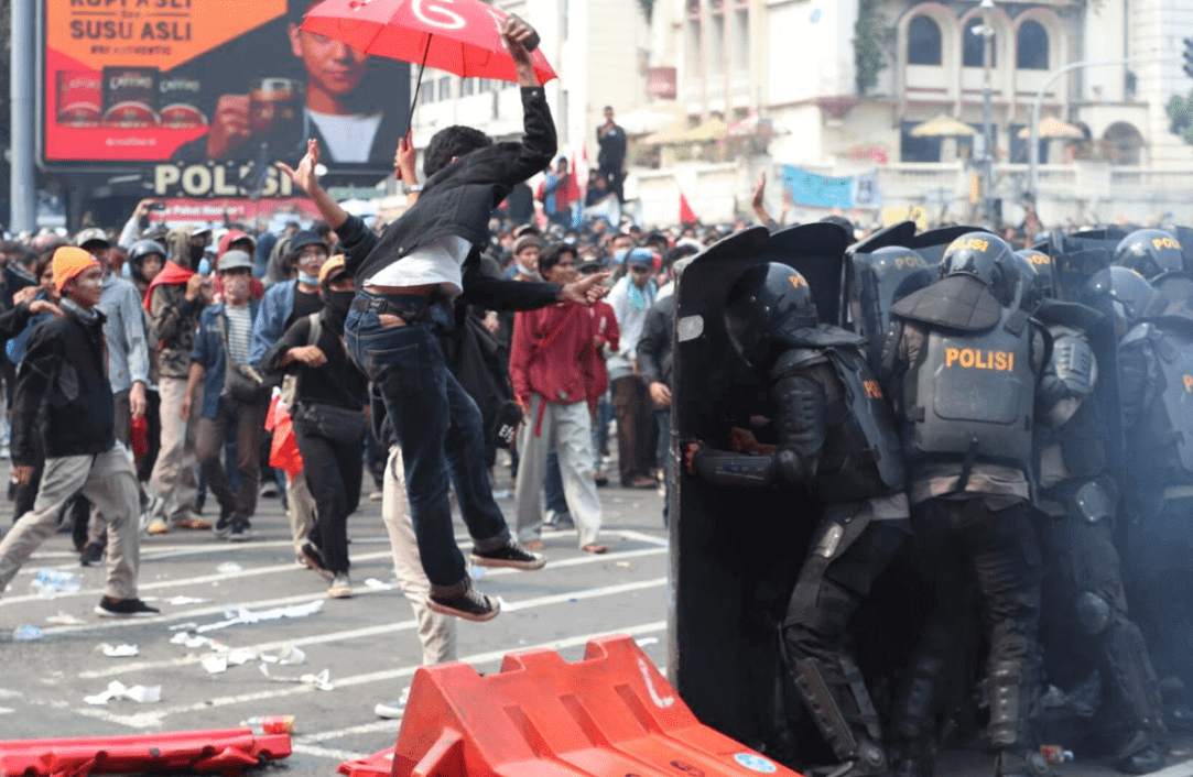 Protests erupted against new labor law in Indonesia