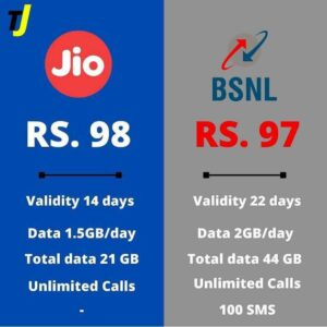 Comparison photo of JIO and BSNL by TrendingJagat