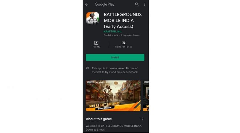 Download and Play early access BGMI (Battleground Mobile India)
