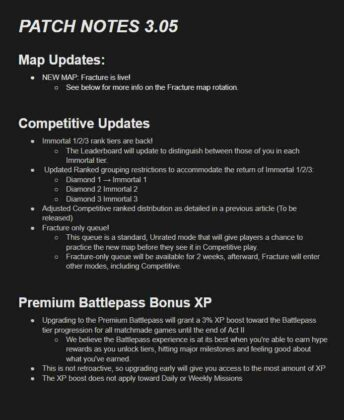 Valorant 3.05 Update patch notes