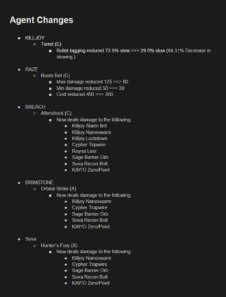 Valorant new update 3.05 agent changes