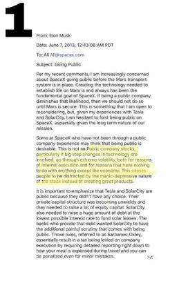 Elon Musk Send email to employees Email Page 1