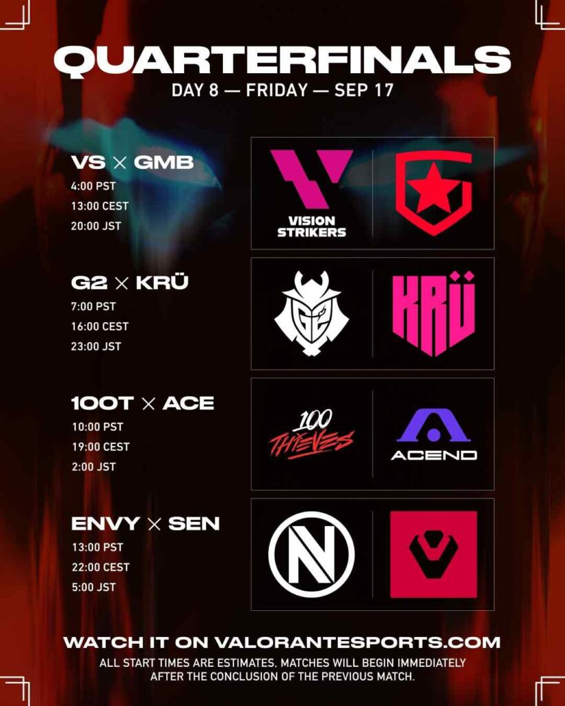 VCT Stage 3 Masters Berlin Quarterfinals Matches