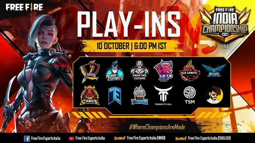 Free Fire India Championship 2021 Fall Play-Ins (FFIC), Team Name & Date
