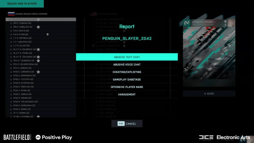 How to report cheaters in Battlefield 2042
