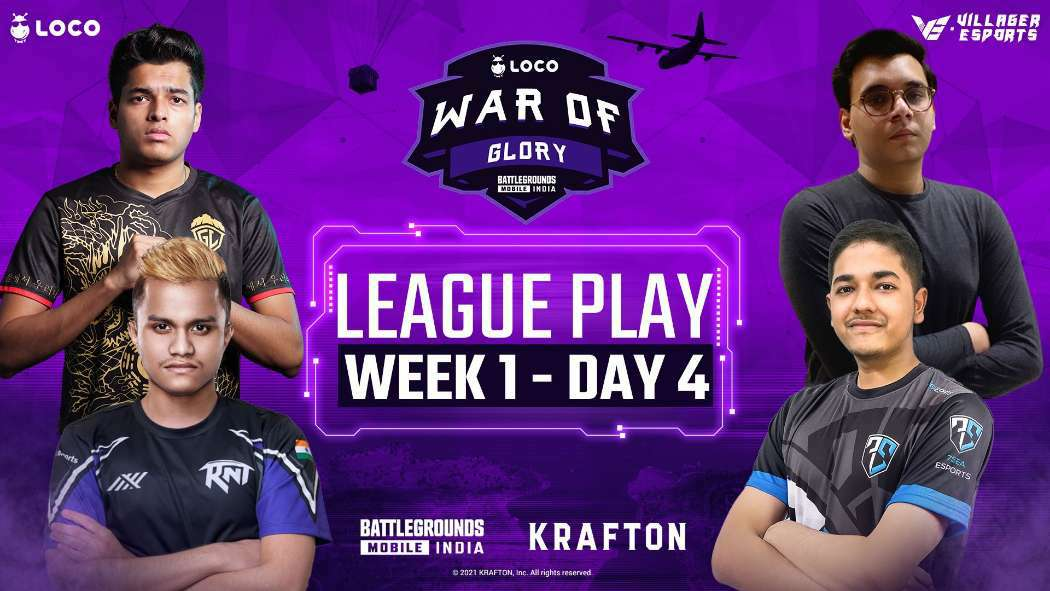 Villager Esports LOCO War of Glory BGMI Week 1 day 4 Point Table, top fraggers
